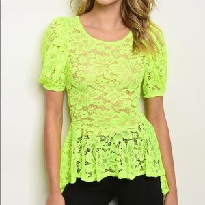 Neon lime puff sleeve, all over lace, hi-low top.